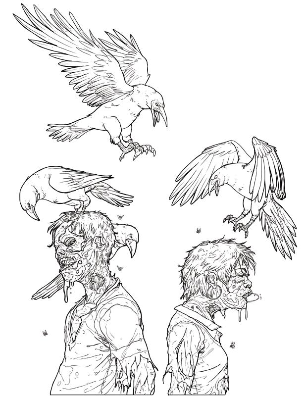 ZombieLoveBirdsColoringImage